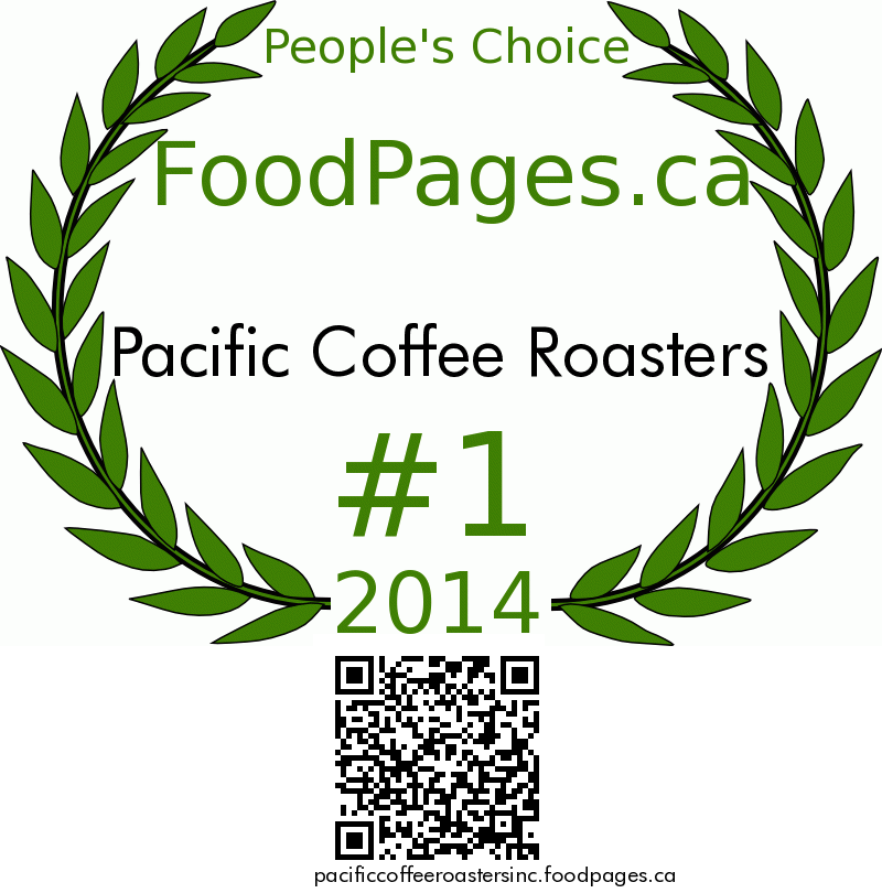 Pacific Coffee Roasters FoodPages.ca 2014 Award Winner